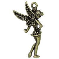 PD: 20 Charm Anhänger Bronzefarben Blumen Fee Engel Schutz 3.6x1.9cm