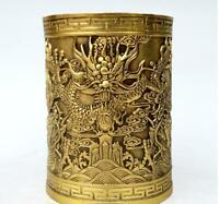 China antique brass MIN GUO hand carving Five Dragons Pen container Brush Pots
