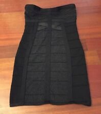 Wow Couture Black Bandage Shimmery Bodycon Dress Strapless Size Small