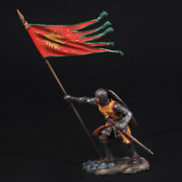 Tin Soldier, French knight with the banners of the abbey of Saint-Denis, 54 mm