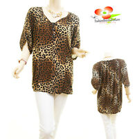 NEW Women PLUS Cheetah Animal Print Silky Peasant Tunic Blouse Shirt Top X 2X 3X