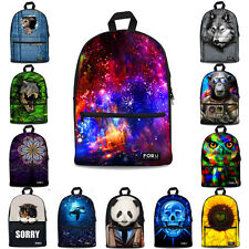 Animal 3D Canvas Backpack Boy Girls Book Bag Casual Satchel Galaxy Women College