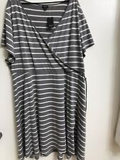 NWT Torrid Women's Gray and White Striped Faux Wrap Jersey Dress Size 5