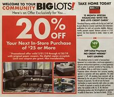 Big Lots 20% Off Your Next In-Store Purchase of $25 or More 12/31/2020