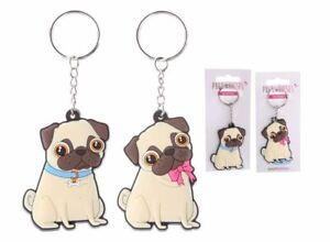 Cute Pugs & Kisses Pug Design Keyring - Pink or Blue Novelty Gift / Secret Santa