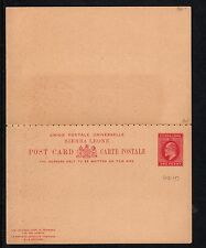 SIERRA LEONE:1902 ONE PENNY + ONE PENNY Postal Card+reply - H &G 10 unused