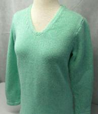 LL Bean Pullover Long Sleeve Green Cotton Knit V-Neck Sweater Womens XL Petite