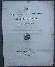 Ode sur la naissance de S.A.R. Monseigneur le duc de Bordeaux, par Teste d'Ouet.