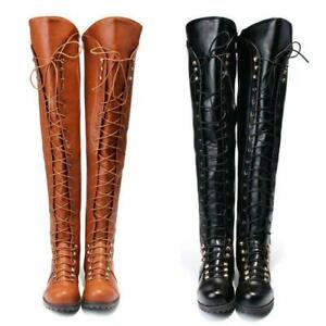 Women Over the Knee Flat Boots Lace Up Bandage Thigh High Combat Low Heel Shoes