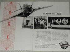 1955 Grumman Aircraft 2 page advertisement, F9F-8 Cougar, flight testing