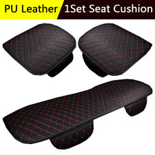 Full Set PU Leather Breathable Car Seat Covers Black & Red Universal Cushion