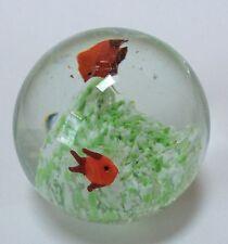 Italian? Art Glass Paperweight Orange Fish Green White Ocean Bottom