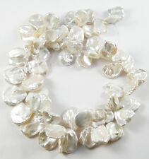 LARGE!!! GENUINE 100% NATURAL PLATINUM WHITE KEISHI PETAL PEARL STRAND