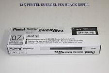 12 pcs Pentel Energel  Refill 0.7mm Black color Metal Tip one dozen in box Japan