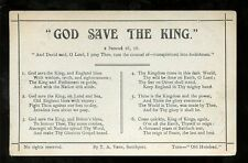 Royalty God Save The King song card early PPC by T A Vann of Southport
