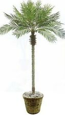 8' Artificial Phoenix Palm Tree Plant Basket Potted Areca Bamboo Date Sago Silk