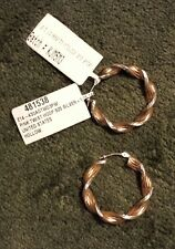 BRAND NEW Love, Earth Pink Twist Hoop Earrings in Sterling Silver and 14K Gold