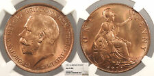 GREAT BRITAIN George V 1911 Penny NGC MS-65 RB