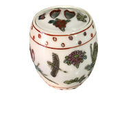 """Vintage~FAMILLE ROSE~Chinese~MINIATURE~Ginger~Tobacco Jar 3""""x 1.5""""~With Lid"""