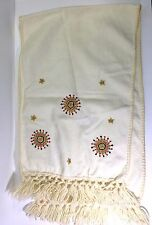 Yemenite Embroidered Scarf from Israel Off-White w Metallic Gold Embroidery