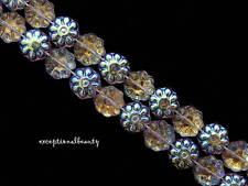 50 Lt Amethyst Aurora Borealis Preciosa Czech Glass 8mm Flower Disc Coin Beads