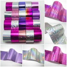 20 x SILVER PINK PURPLE Nail Art Wrap Foils Transfer Glitter Sticker Polish D...