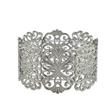Lux Accessories Silver tone Casted Filigree Pattern Stretch Bracelet