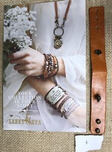 """New Lenny & Eva Jewelry Bracelet Leather Skinny Cuff For Sentiment Natural """"A"""""""