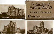 VALENTINE'S SNAPSHOTS  of  LIVERPOOL CATHEDRAL - -12 B&W Scenic Views VINTAGE