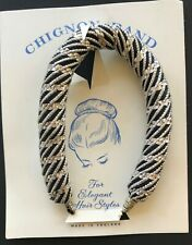 Vintage Hair - 1950's Black & Silver Fabric Chignon Band - Made in England