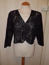 MINUET PETITE black evening bolero jacket size 18 ribbon work