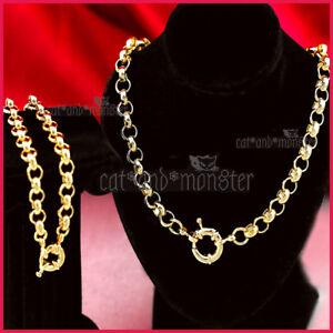 9K GOLD GF SOLID LADIES BELCHER CHAIN RING LINK CHARM NECKLACE BRACELET SET GIFT