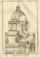 Saint Pierre de Rome Coupole San Pietro Roma Pierre Martin Dumont Gravure 18e
