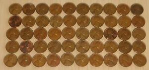1958d #3 Roll Vintage Wheat Pennies, pennies fine or better,