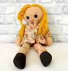Vintage Rag Doll Girl Soft Toy Worn & Shabby Stuffed Fabric Retro