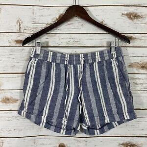 Woman's Old Navy Medium Elastic Tie Waist Linen Striped Shorts Multi