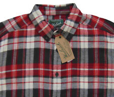 Men's WOOLRICH Red Gray White Plaid Flannel Cotton Shirt S Small NWT NEW