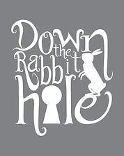 Alice in Wonderland Rabbit White Typography quote Decorative Vinyl Wall Sticker