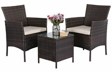 3PCS Outdoor Patio PE Rattan Wicker Coffee Table Bistro Furniture With Cushion
