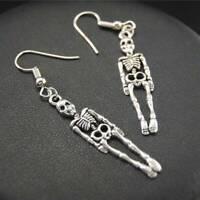 Punk Retro Skeleton Skull Dangle Ear Hook Earrings Women Halloween Party Jewelry