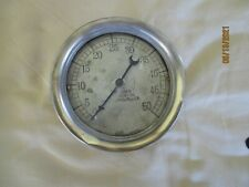 """Used 6"""" Pressure Gauge With Brass Ring By Brown Instrument Co. Philadelphia Pa"""