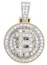 Mens 10K Yellow Gold Medallion Bitcoin Initial B Diamond Charm Pendant 4 3/4Ct