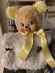 "Vintage Rubber Face Plush Yellow Bear 14"""