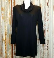 Exclusively Misook Mock Turtleneck Cowl Neck Top Shirt Black Long Sleeve Medium