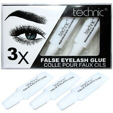TECHNIC EYELASH GLUE 3 x Tubes CLEAR Fake False Lash Adhesive Set Strong Sealed
