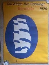 Vtg Tall Ships Are Coming 1976 Bermuda Poster American Sail Malcolm Grear Design