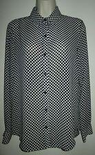 JOE Fresh Sheer BLOUSE TOP S Black & White CHECK Small BUTTON FRONT Collar Shirt