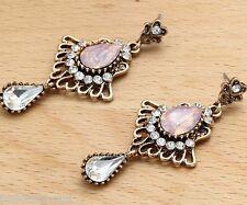 Woman's Pink Crystal Rhinestone Silver Plated  Long Ear Stud Hoop earrings 211