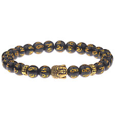 Feng Shui Black Obsidian Alloy Wealth Bracelet Golden Buddha Lucky Jewelry Xmas