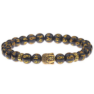 Feng Shui Black Obsidian Alloy Wealth Bracelet Golden Buddha Lucky Jewelry Xmas